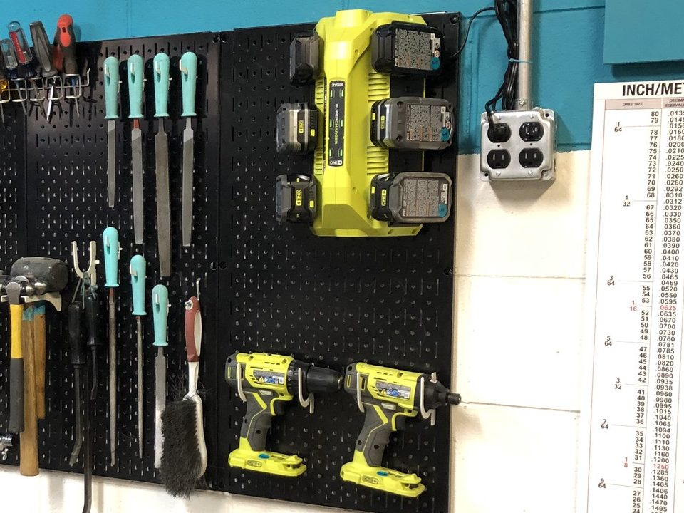 Tool Board with Drill and Charging Station